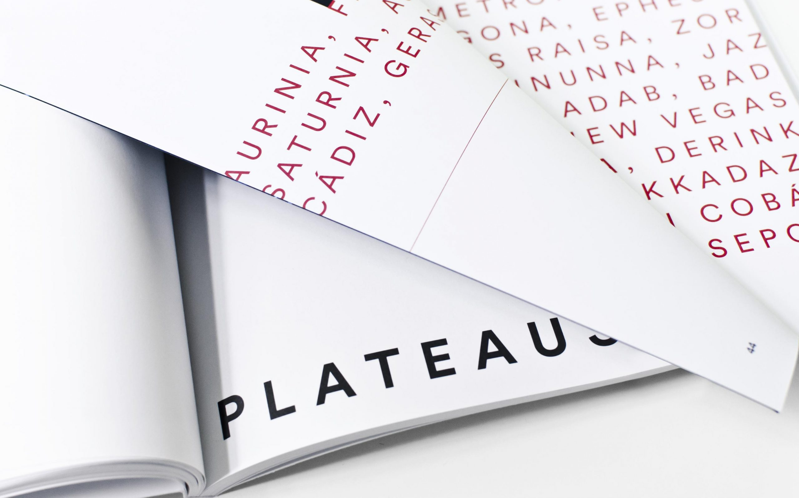 Detail aus Juliana Herrero – REM 1:1 | Werktitel groß »Plateaus« und Voice Over Typografie auf nächster Doppelseite, umgeschlagene Seite | Keywords: Editorial Design, Artist Book, Künstlerbuch, Buchgestaltung, Grafikdesign, Design, Typografie