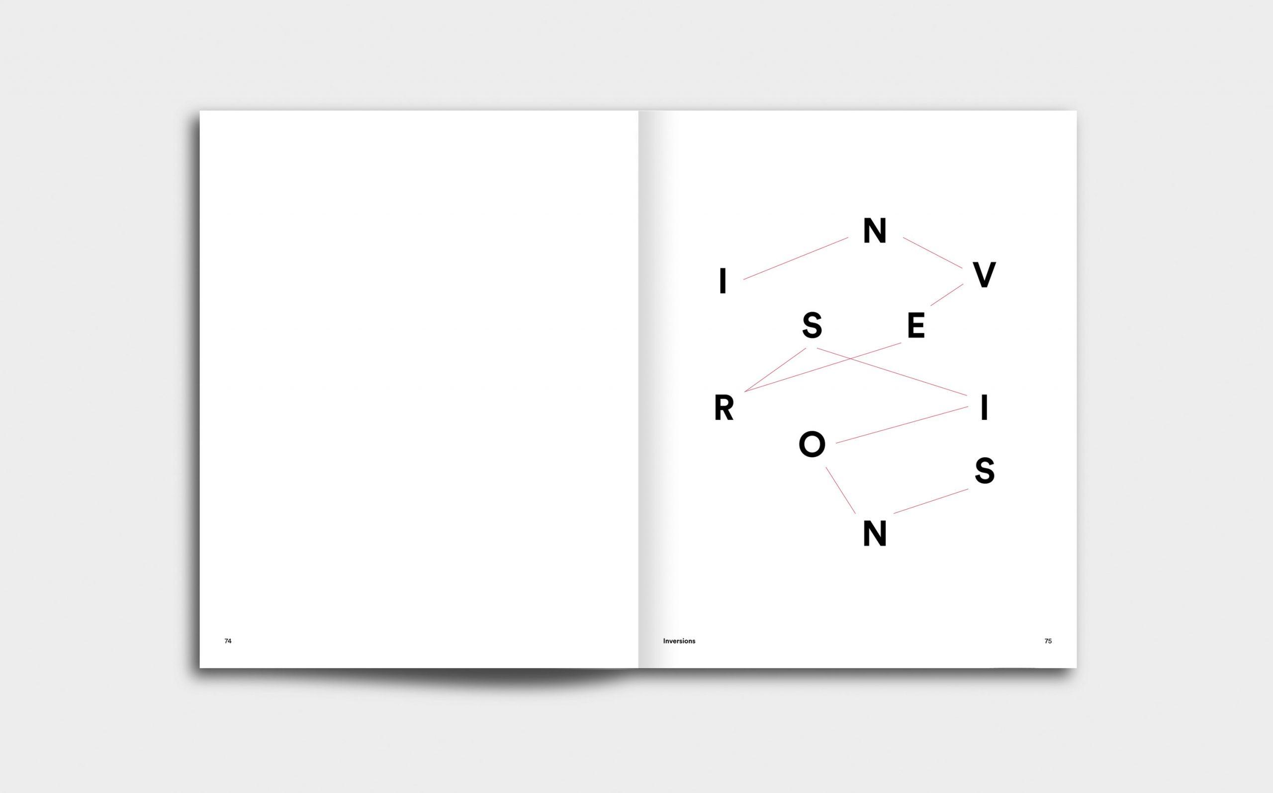Juliana Herrero – REM 1:1 | Kapitel Opener mit grafischer Inszenierung des Titels »Inversions« | Keywords: Editorial Design, Artist Book, Künstlerbuch, Buchgestaltung, Grafikdesign, Design, Typografie