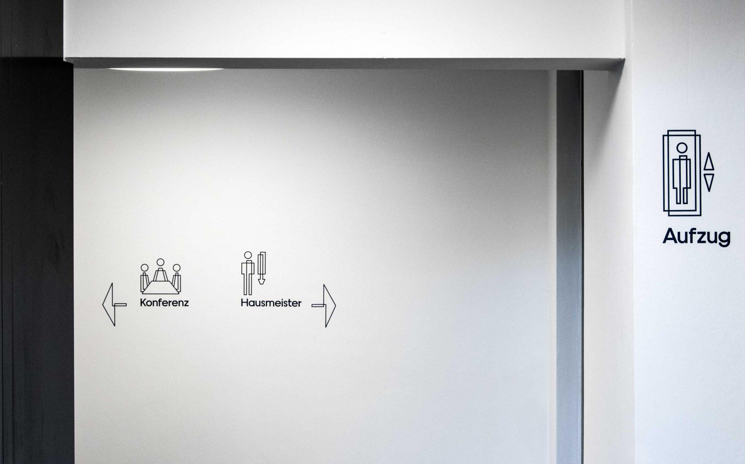 Etagenkennzeichnung für das Rechenzentrum der Finanzverwaltung des Landes Nordrhein-Westfalen   Piktogramme   Keywords: Etagenkennzeichnung, Signaletik, Leitsystem, Orientierungssystem, Design, Grafikdesign, Typografie